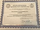 State of Kansas Registration Certificate (#14-005652)